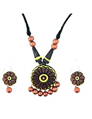 "ARTWOOD ""Red And Gold Desire"" Circle-shaped 3-piece TerraCotta Jewellery Set"