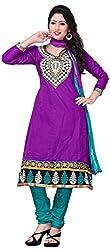 MANMAUJ Women's Cotton Unstitched Dress Material (Violet)