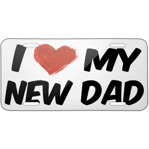 Metal License Plate I Love my New Dad - Neonblond