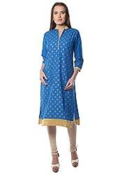Navriti blue block print cotton kurta