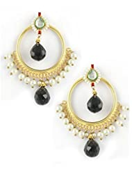 The Art Jewellery Black Drop Round Shaped Kundan Dangle&Drop Earrings For Women