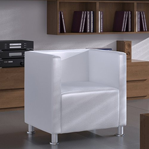 Poltrona design Lorraine moderna Similpelle bianca