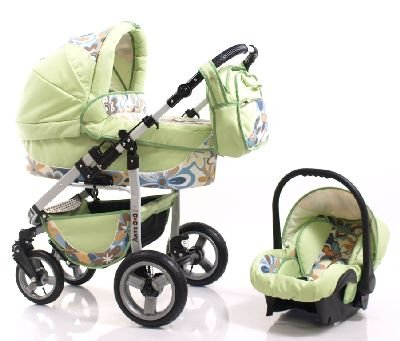 ADBOR Combo Pram ARTE3x3 + Car Seat No.38 green / flower