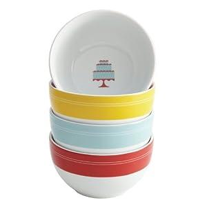 Cake Boss Serveware 4-Piece Porcelain Ice Cream Bowl Set, Mini Cakes Pattern, Print by Cake Boss