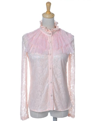 Anna-Kaci S/M Fit Light Pink Floral Lace L/S Button Down Blouse w Ruffle Chest