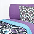 Extra Long Twin Sheet Set Grape Aqua Damask