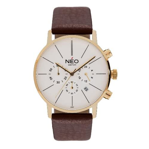 NEO watch MINIMALISM Chronograph Mens   Ladies Quartz Watch - Wristwatch with Genuine Leather Strap - Analogue...