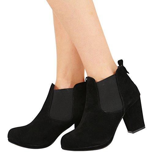 Nuovo da donna Mid Tacco Alto Piattaforma Caviglia basso Chelsea stivali scarpe taglia 3-8, Neysa, Nero