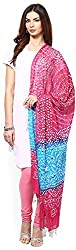 Apratim Womens Cotton pink and firoji bandhani Dupatta with mirror work