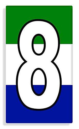 Sierra Leonean - Sierra Leone Flag Number 8 Sticker Self Adhesive / Aufkleber Für Wheelie Bin / Haustür / Mülltonne / Mülleimer - Anzahl wählen