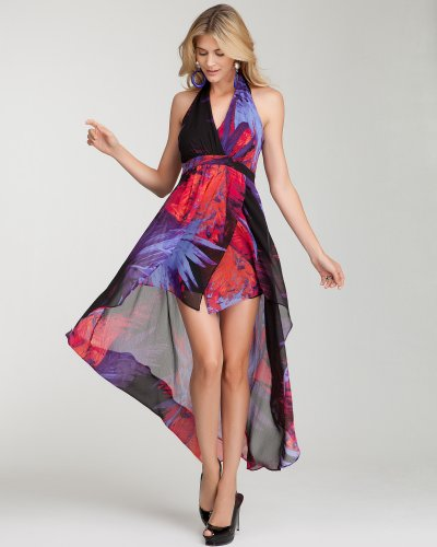 bebe Hi-Lo Halter Maxi Print Dress