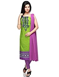 Utsav Fashion Women's Neon Green Cotton Churidar Kameez-