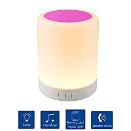 Rymemo Wireless Bluetooth Speaker Smart Touch Lamp, Music Player / Hands-free Bluetooth Speakerphone / TF Card Supported / Touch-Sensitive Control Panel, Multi-Color Switching, Pink