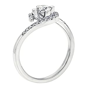 GIA Certified 14k white-gold Round Cut Diamond Engagement Ring (0.46 cttw, F Color, VVS2 Clarity)