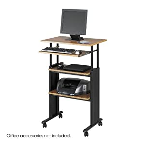Safco Products Muv Stand-up Adjustable Height Computer Workstation, Medium Oak, 1929MO