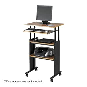 Safco Products 1929MO Muv Stand-up Adjustable Height Stand Up Desk with Keyboard Shelf, Medium Oak