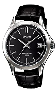 Casio #MTP1380L-1AV Men's Standard Analog Leather Band 50M Black Dial Watch