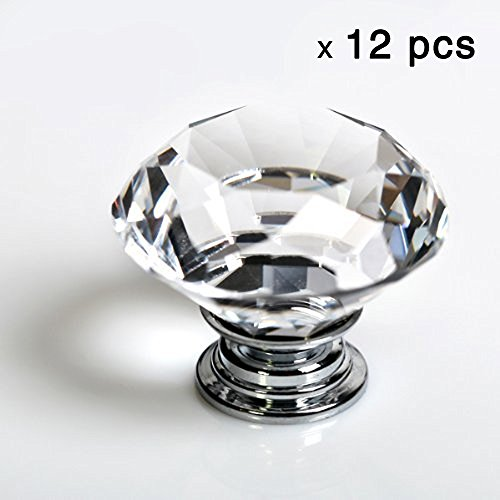 12pcs Diamond Shape Crystal Glass 30mm Drawer Knob Pull Handle Usd for Caebinet, Drawer rustic ceramic furniture knob pink flower porcelain drawer cabinet knob 38mm white ceramic dresser cupboard door pull handle
