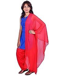 Womens Cottage Red Cotton Jacquard Patiala & Chiffon Dupatta Set