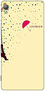 Snoogg Paris In The Rains Designer Protective Back Case Cover For Sony Xperia Z4