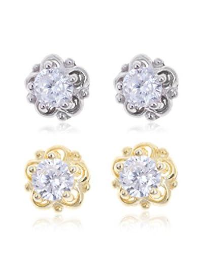 Silver Luxe Pendientes Duo Circonita Oro