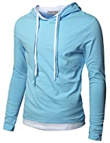 Doublju Mens Hood Pull-over with Contrast String SKY (US-M)