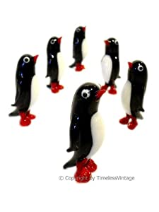 Set Lot OF New 6 Hand Blown Art Glass ANIMAL Penguins Birds Figurine