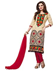 Sonal Trendz Beige & Red Color Embroidery Semi-Stitched Suit.