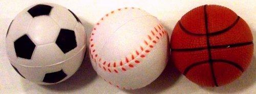 Three Spongy Rubber Sports Balls