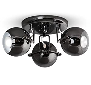Retro Black Chrome 3 Way Spotlight Ceiling Light by Trident Ltd