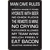 Man Cave Rules Metal Bar Sign
