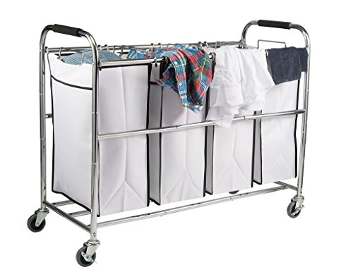 Saganizer 4 Bag Laundry Organizer, Chrome / White
