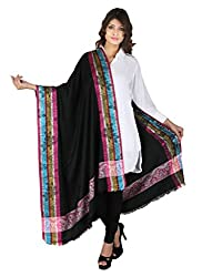 Figaro Black & Purple Viscose Woven Women's Shawl