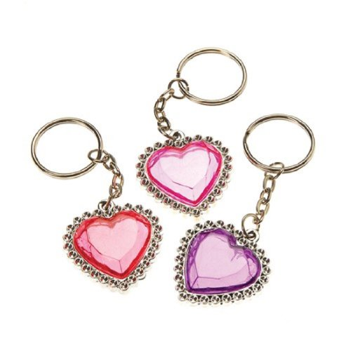 Dozen Assorted Heart Bling Key Chains Key Rings - 1