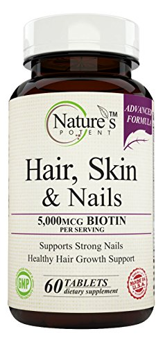 Natures-Potent-Hair-Skin-and-Nails-Vitamins-Best-for-Hair-Growth-Advanced-Formula-Extra-Strength-with-5000-mcg-Biotin-60-Tablets
