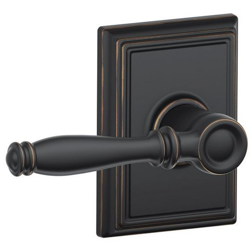 Schlage F10-Bir-Add Birmingham Passage Door Lever Set With The Decorative Addiso, Aged Bronze