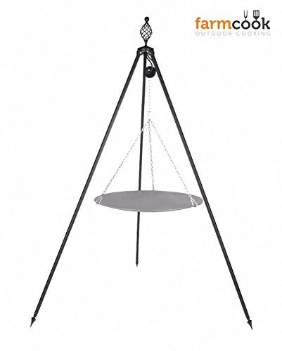 Dreibein Grill OSKAR Höhe 210cm, incl. Kette und Grillpfanne aus Stahl 56cm günstig kaufen
