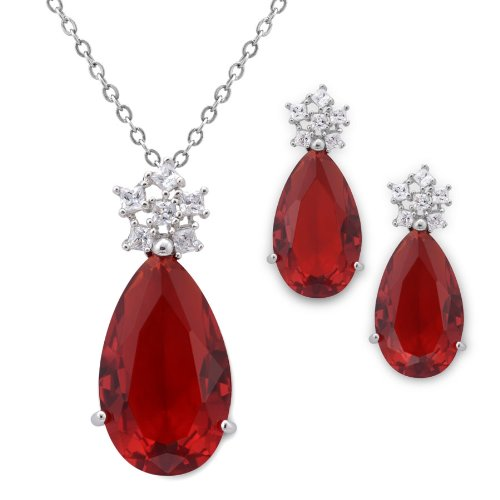 28 Carat Simulated Ruby Pear Drop Earring & Pendant Set