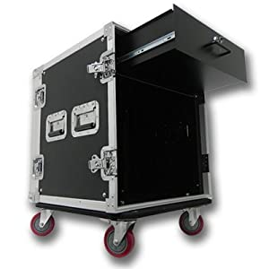 Seismic Audio 12 SPACE RACK CASE WITH 3U LOCKING DRAWER Amp Effect Mixer PA/DJ PRO CASTERS