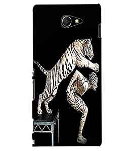 ColourCraft Man and Tiger Design Back Case Cover for SONY XPERIA M2