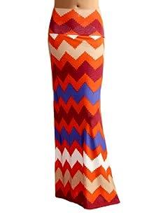Women'S Poly Span Multi Color Chevron Print Maxi Skirt - B96 Rust & Blue XL