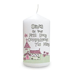 Personalised Whimsical Church Pink 1st Holy Communion Candle from Pmc