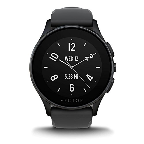 Vector Watch Luna Smartwatch -30 Day+ Autonomy, 5ATM, Notifications, Activity Tracking - Black Case/ Black Silicon-Sport