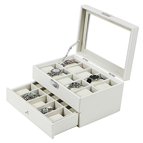 Songmics White Leather 20 Watch Box  Drawer Glass