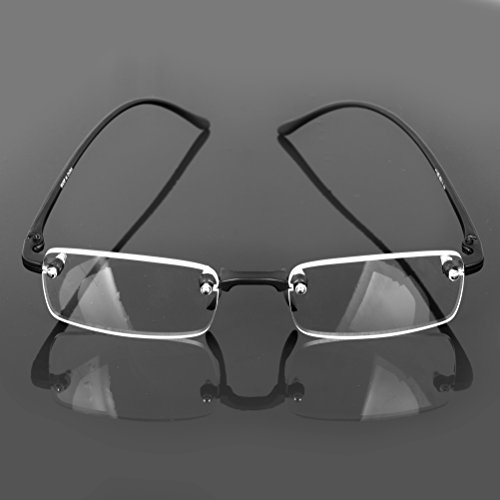 Convenient Stylish Fashion Design Rimless Frameless Reading Presbyopic Glasses Clear Eyeglasses with Case +2.0
