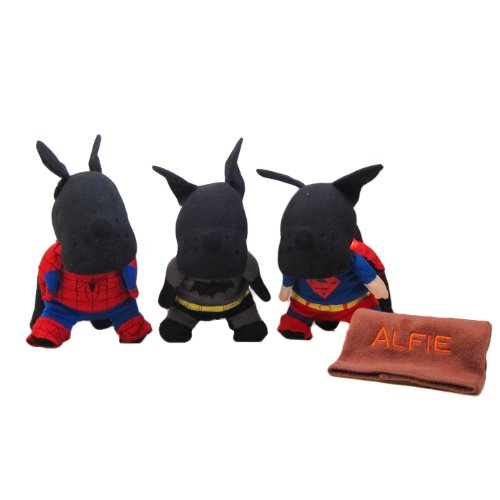 Alfie Pet By Petoga Couture - Superhero Costume 3-Piece With Microfiber Fast-Dry Washcloth Set: Batman, Spiderman And Superman - Size: Xs