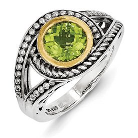 Genuine IceCarats Designer Jewelry Gift Sterling Silver W/14K Peridot Ring Size 7.00
