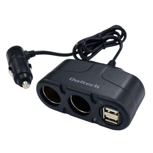オウルテック 2連シガーソケット分配器 USB2ポート搭載(合計3.1A) 12V/24V車対応 ブラック ケーブル長90cm