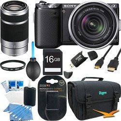 Sony NEX-5N NEX-5NK NEX5NKB 16.1 MP Compact Interchangeable Lens Touchscreen Camera With 18-55mm Lens (Black) BUNDLE with Sony E 55-210mm F4.5-6.3 Lens for Sony NEX Cameras, 16GB Card, Spare Battery, UV Filter (Qty 2), Case, Mini HDMI + More!