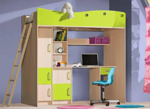 kinderhochbett mit schreibtisch. Black Bedroom Furniture Sets. Home Design Ideas
